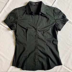 Woman Express Button Down Dress Shirt Black Size M